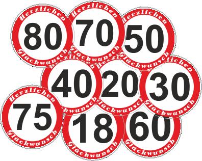 Geburtstagsschild 18 20 30 40 50 60 65 70 75 80 Verkehrszeichen Verkehrsschild Straßenschild Schild Aufkleber